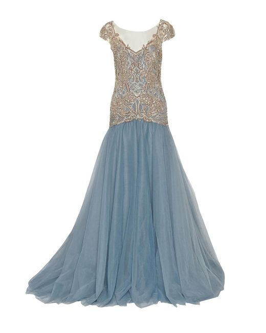 Marchesa - Blue Drop Waist Embroidered Ball Gown - Lyst