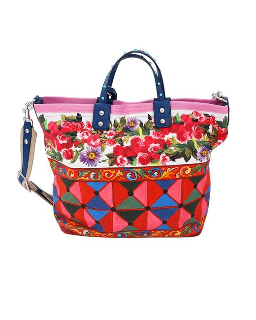 Dolce & Gabbana | Red Rose Print Tote Bag | Lyst