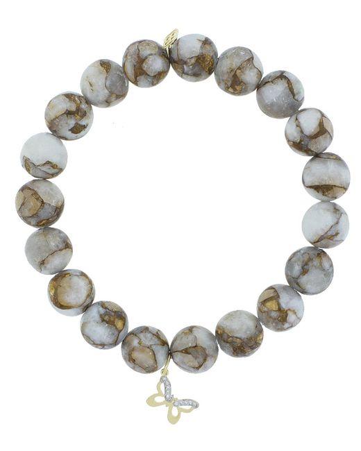 Sydney Evan | Metallic Diamond Pave Butterfly Charm Bracelet | Lyst