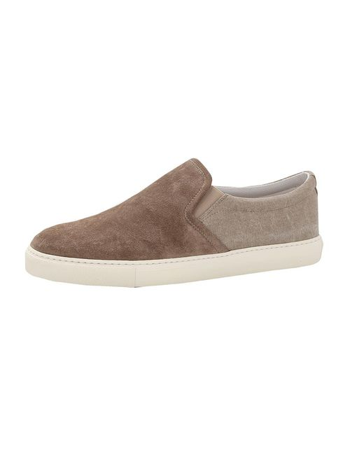 Brunello Cucinelli - Brown Suede And Canvas Slip On for Men - Lyst