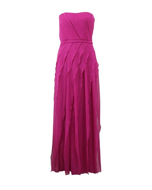 Pamella Roland - Purple Strapless Silk and Chiffon Gown - Lyst