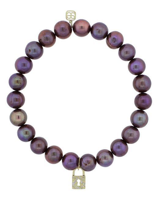 Sydney Evan - Multicolor Diamond Pave Padlock Charm Bracelet - Lyst