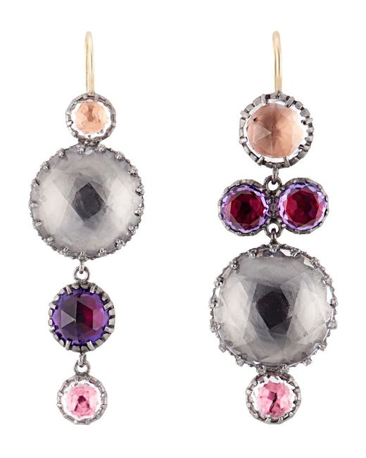 Larkspur & Hawk | Metallic Sadie Mis-matched Peony Earrings | Lyst