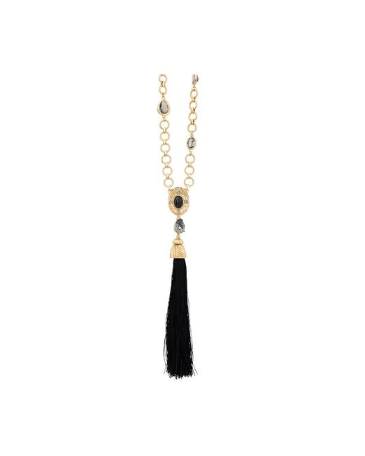 Oscar de la Renta | Black Crystal & Resin Tassel Necklace | Lyst