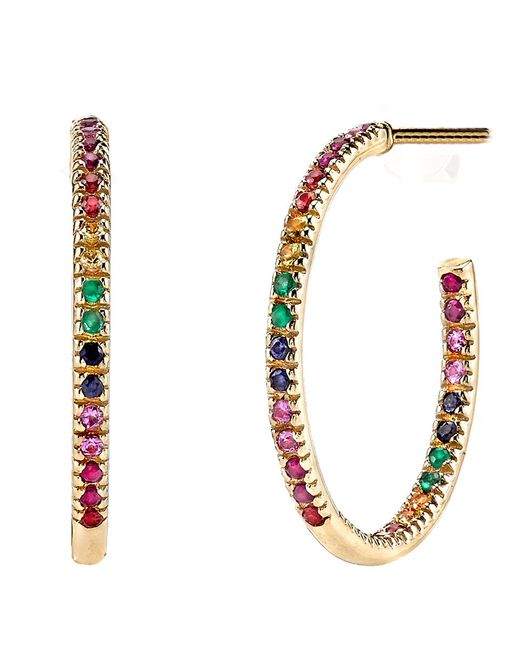 Sydney Evan - Metallic Rainbow Hoop Earrings - Lyst