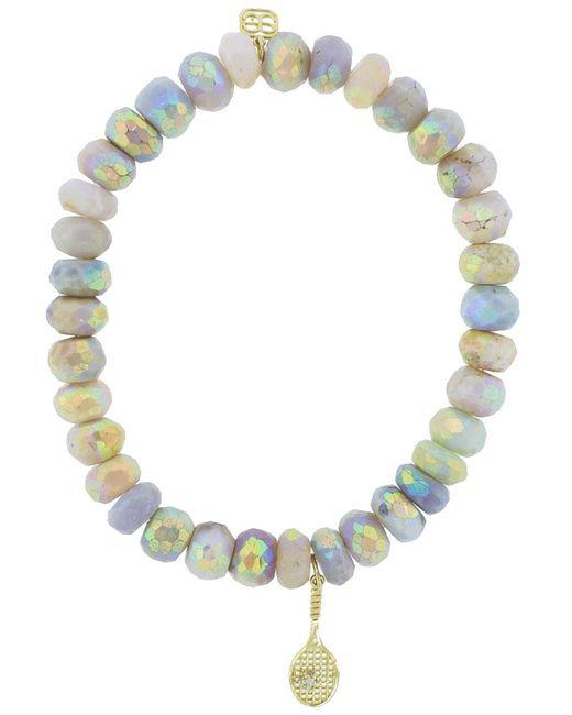 Sydney Evan - Multicolor Diamond Pave Tennis Raquet Charm Bracelet - Lyst