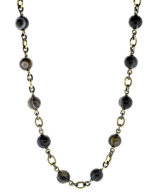 Sylva & Cie - Metallic Striped Agate Beaded Necklace - Lyst