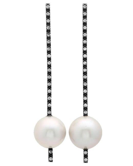 Nancy Newberg - Metallic Oxidized Silver, Pearl And Diamond Stick Earrings - Lyst