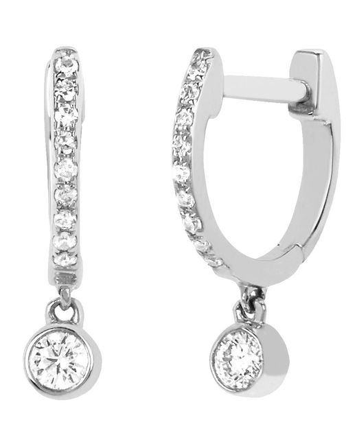 EF Collection - Metallic Diamond Bezel Drop Mini Huggie Earrings - Lyst