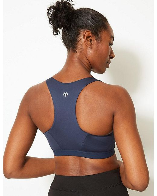 6821b056af0 ... Marks   Spencer - Blue Extra High Impact Non-padded Sports Bra A-g ...