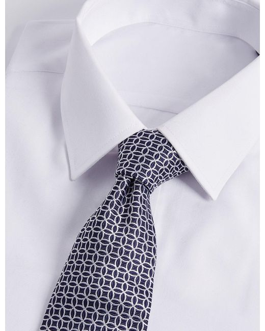 Marks & Spencer | Blue Pure Silk Geo Print Tie for Men | Lyst