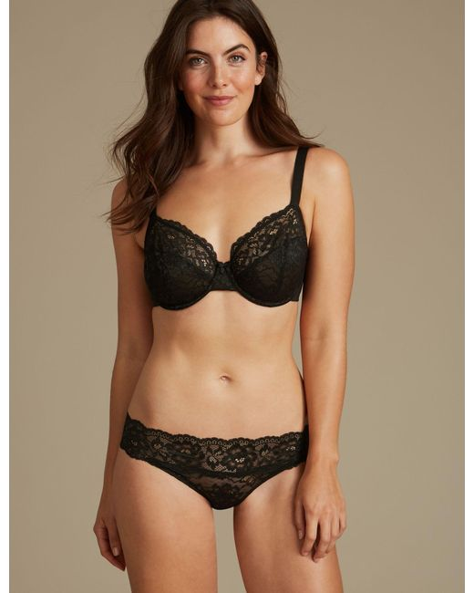 2389448e6d20f ... Marks   Spencer - Black 2 Pack Louisa All Over Lace Non-padded Full Cup