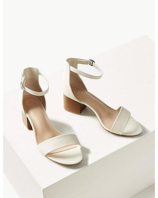 568dc0d55a48 Lyst - Marks   Spencer Wide Fit Two Part Ankle Strap Sandals in White