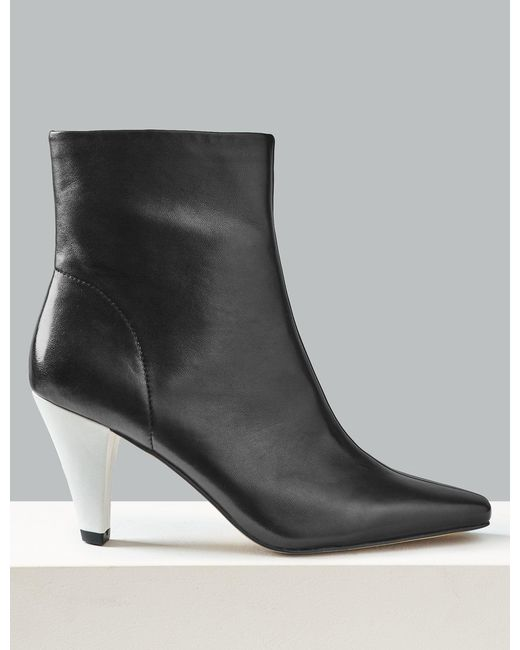 ce1b1cbe9d96a Marks & Spencer - Black Leather Kitten Heel Square Toe Ankle Boots - Lyst  ...
