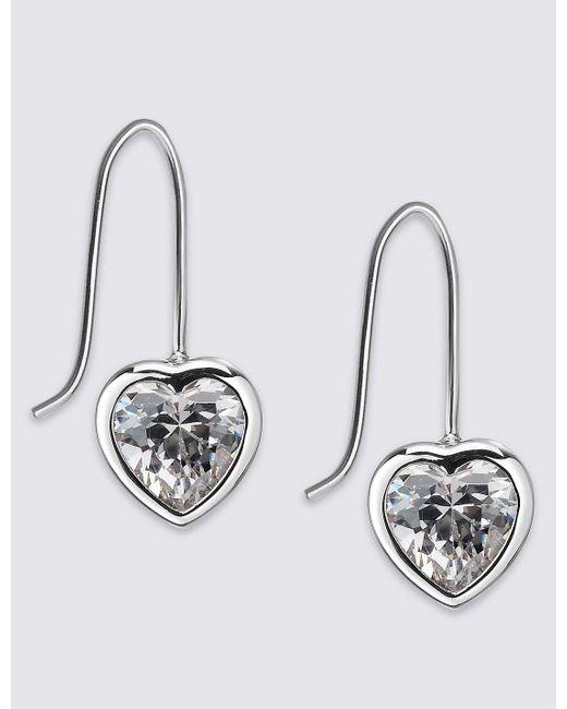 Marks & Spencer | Metallic Platinum Plated Heart Bezel Drop Earrings | Lyst