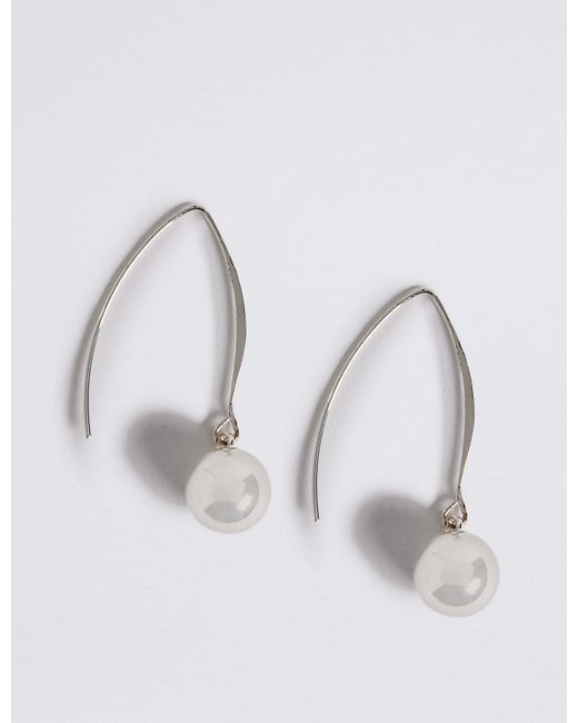 Marks & Spencer   Metallic Silver Plated Floating Ball Drop Earrings   Lyst