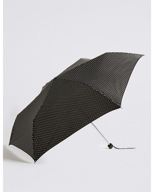 Marks & Spencer | Black Spotted Compact Umbrella With Stormweartm | Lyst