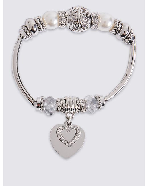 Marks & Spencer | Metallic Heart Sparkle Bracelet | Lyst
