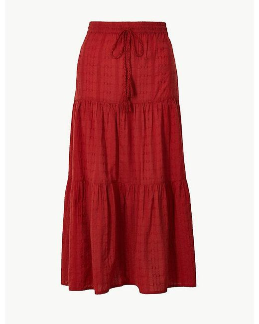 Marks & Spencer - Pure Cotton Tiered Maxi Skirt - Lyst