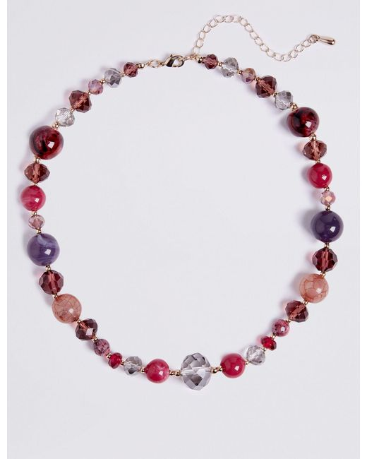 Marks & Spencer - Multicolor Bead & Bar Necklace - Lyst