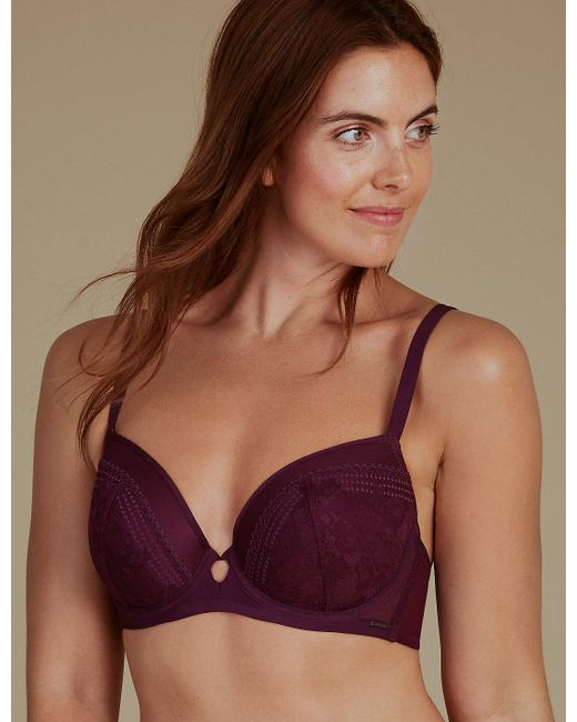 Marks & Spencer - Purple Lace Embroidered Padded Balcony Bra A-g - Lyst