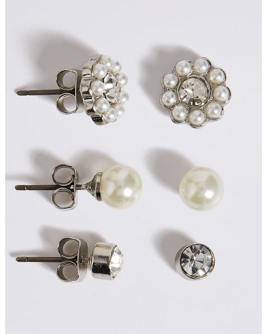 Marks & Spencer | White Pearl Effect & Dainty Diamanté Stud Trio Earrings Set | Lyst