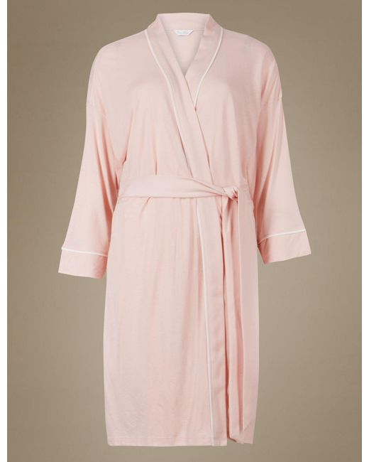 Marks & Spencer Bridesmaid Tie Front Wrap Dressing Gown in Pink - Lyst