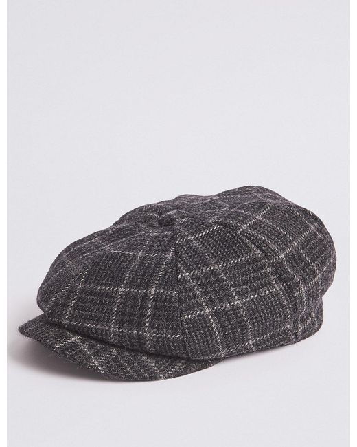f8a57d542e0 Marks   Spencer - Gray Pure Wool Checked Baker Boy Hat for Men - Lyst ...