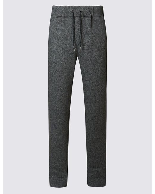 Marks & Spencer | Gray Cotton Rich Tailored Fit Textured Joggers for Men | Lyst