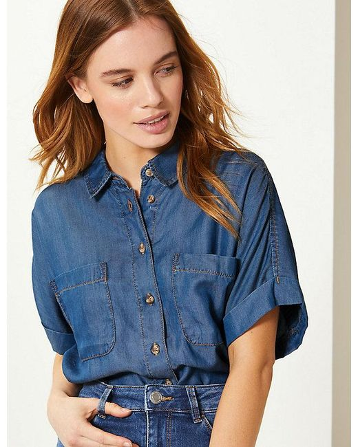 54062728f79449 Lyst - Marks   Spencer Petite Button Detailed Short Sleeve Shirt in Blue