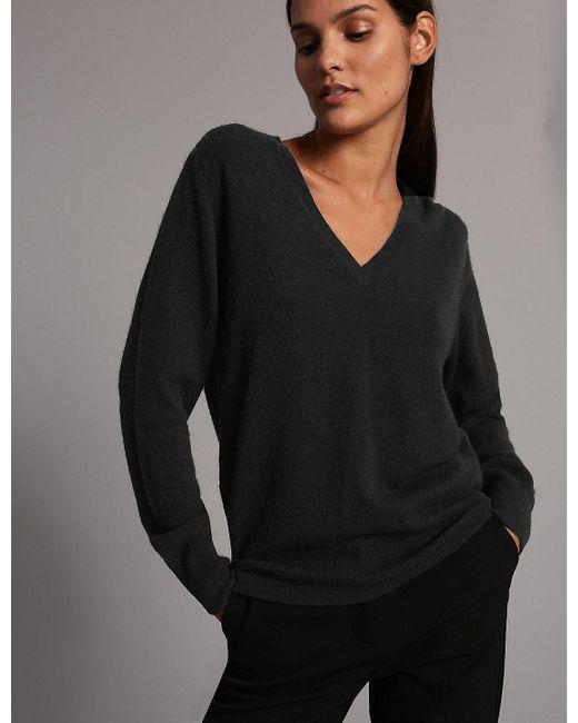 Marks & Spencer - Black Pure Cashmere Ribbed Hem V-neck Jumper - Lyst