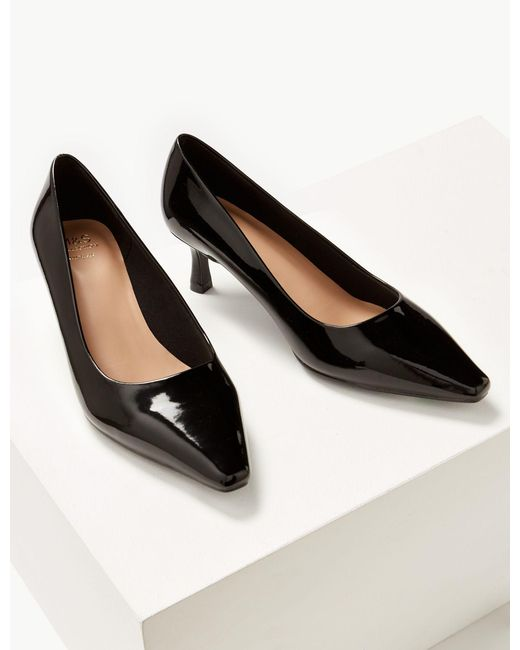 fe006bde2ac ... Lyst Marks   Spencer - Black Wide Fit Kitten Heel Court Shoes ...