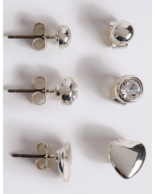 Marks & Spencer | Metallic Silver Plated Assorted Stud Trio Earrings Set | Lyst