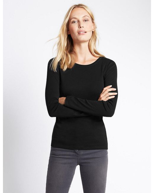 Marks & Spencer - Black Pure Cotton Round Neck Long Sleeve T-shirt - Lyst