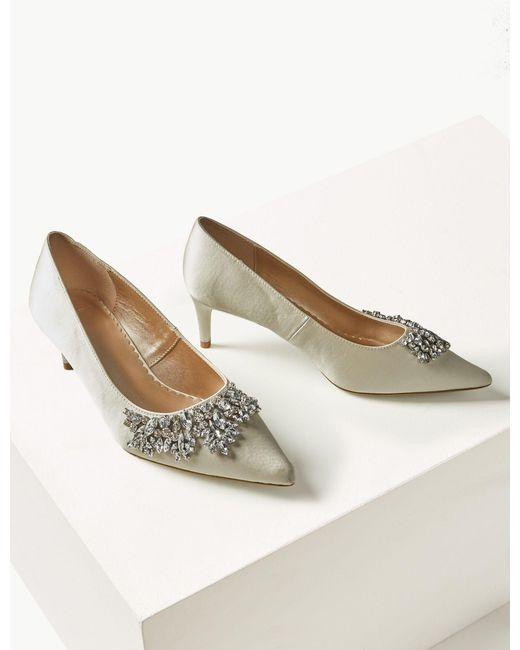 3c3b7925164 Marks   Spencer Satin Kitten Heel Trim Court Shoes in White - Lyst