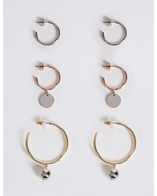 Marks & Spencer - Metallic Multi Charm Hoop Earring Set - Lyst