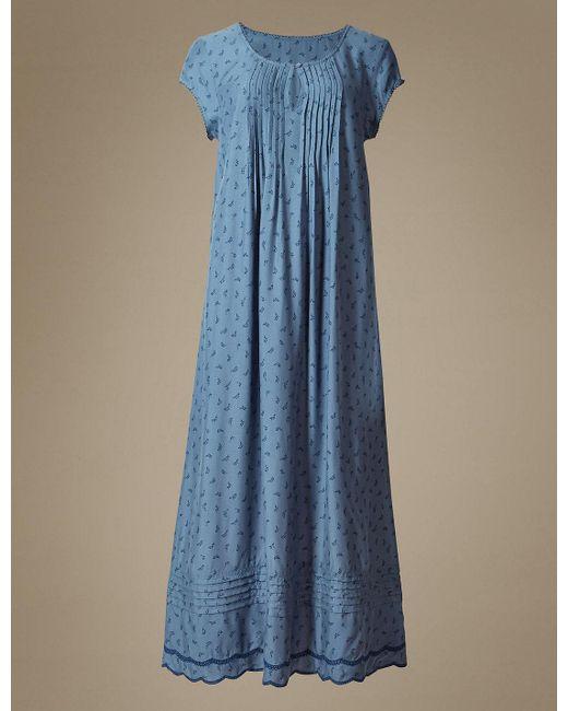 Marks & Spencer | Blue Leaf Print Short Sleeve Nightdress | Lyst