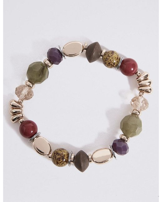 Marks & Spencer - Multicolor Etched Charm Stretch Bracelet - Lyst