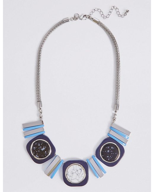 Marks & Spencer | Blue Square Mix Necklace | Lyst