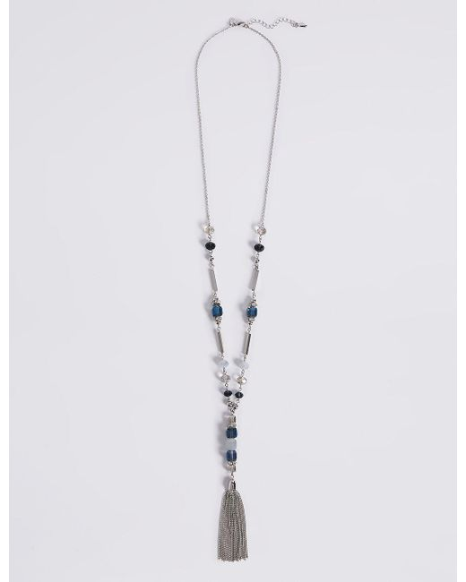 Marks & Spencer | Metallic Multi-faceted Assorted Bead Tassel Necklace | Lyst