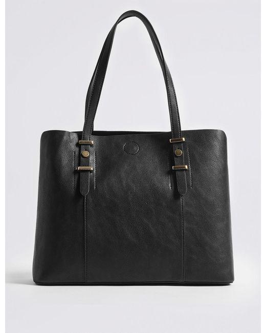 09df9966f30d Marks   Spencer - Black Faux Leather Soft Stud Tote Bag - Lyst ...