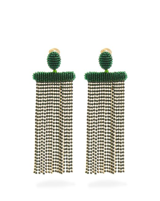 Oscar de la Renta | Green Waterfall Tassel-drop Clip-on Earrings | Lyst