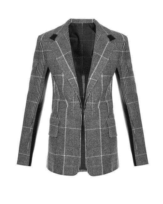 Calvin Klein | Gray Leather-Panel Checked Wool Blazer | Lyst