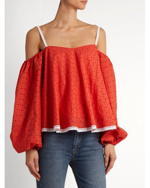 Puff Sleeve Off The Shoulder Broderie Anglaise Top - Womens - Red ANNA OCTOBER Exclusive Footlocker Online vbHb6