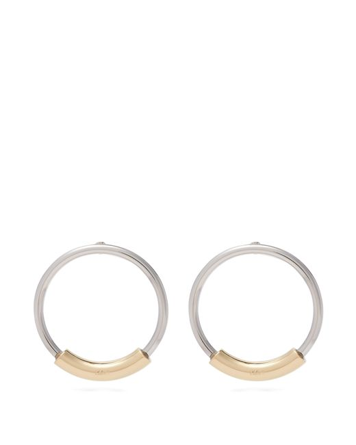 Chloé - Metallic Silver Hoops With Logo Engraved Gold Bar - Lyst
