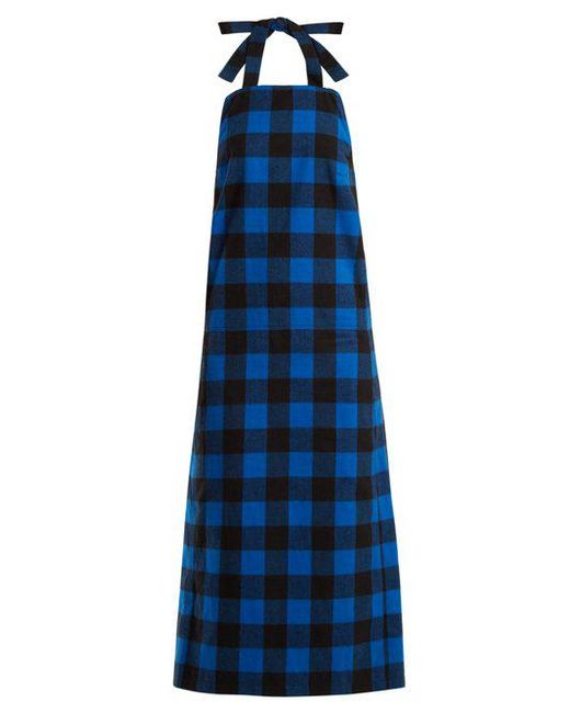 Vetements - Blue Checked Flannel Apron Dress - Lyst