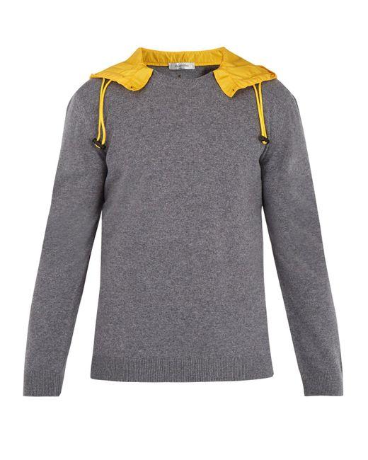 Valentino - Gray Detachable-hood Wool Sweater for Men - Lyst