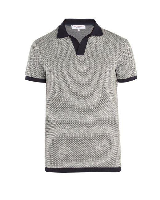 Orlebar Brown - Gray Felix Waffle Knit Polo Shirt for Men - Lyst
