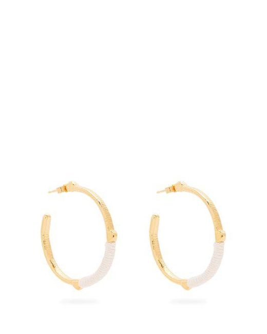 Marte Frisnes - White Dido Embroidered Hoop Earrings - Lyst