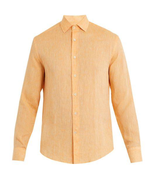 Frescobol Carioca - Orange Point Collar Linen Shirt for Men - Lyst